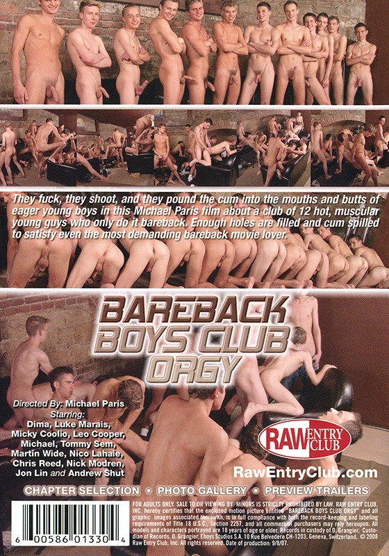 Bareback Boys Club Orgy DVD - Back