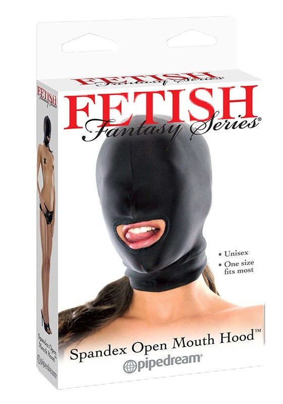 FF Spandex Open Mouth Hood - Black - Front
