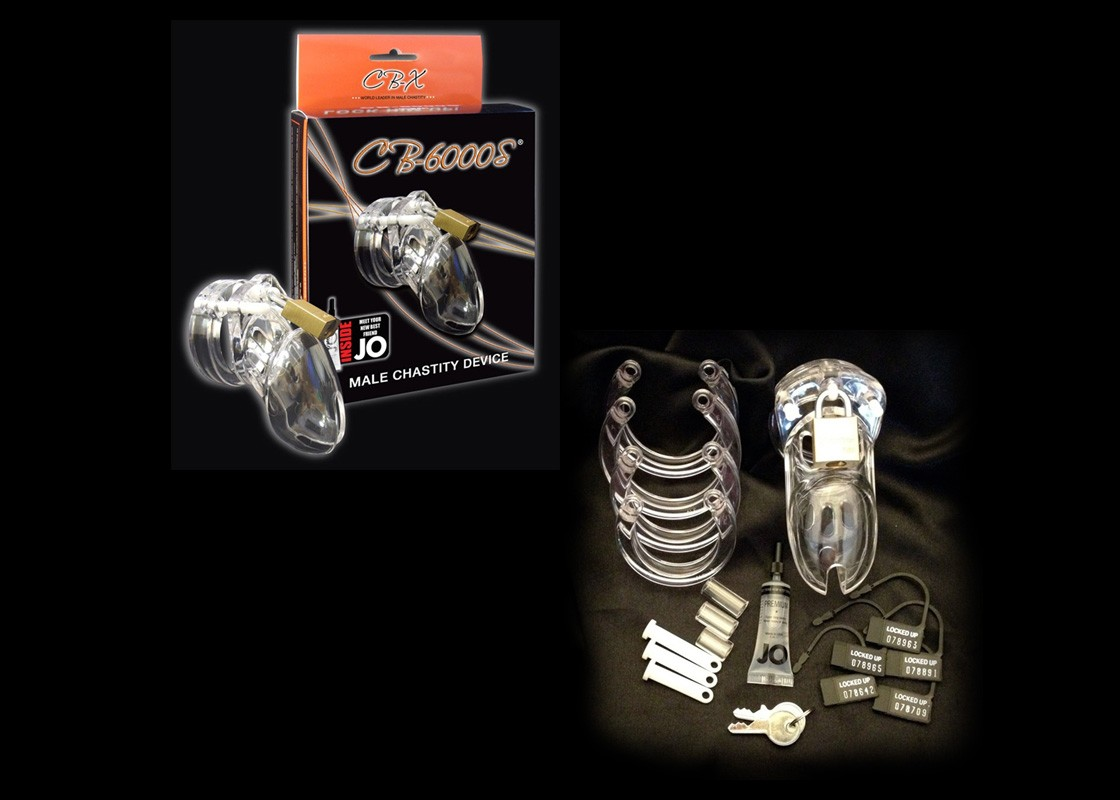 CB-6000S Chastity Cage - Clear - 37 mm. - Front