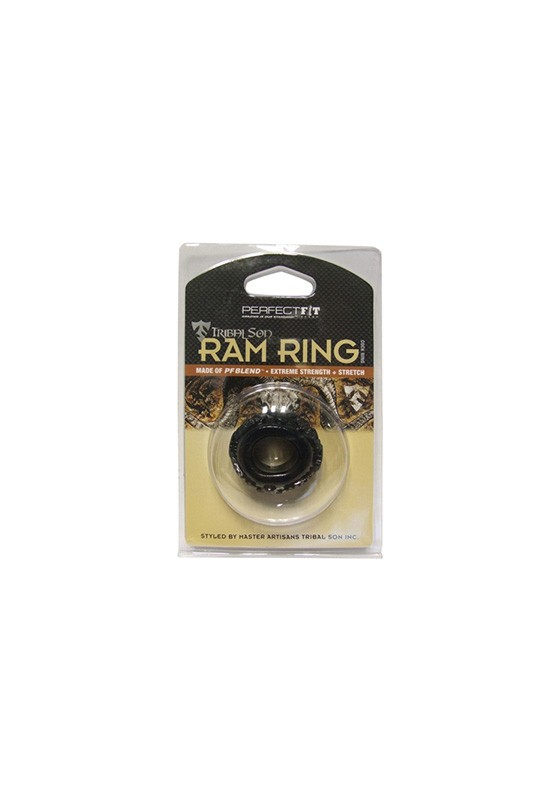 Tribal Son Ram Ring - Black - Front