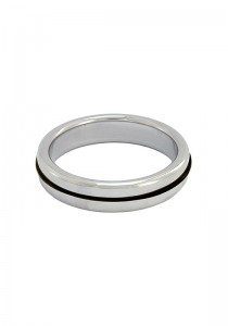 Stainless Steel Slim Cock Ring With Black Band