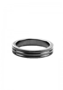 Cockring Ribbed - Black Steel - 10mm Wide - Front