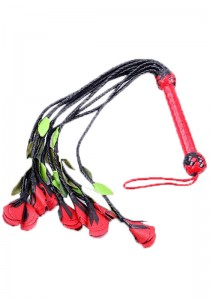 Nine Tail Rose Flogger w. Red & Green Petals